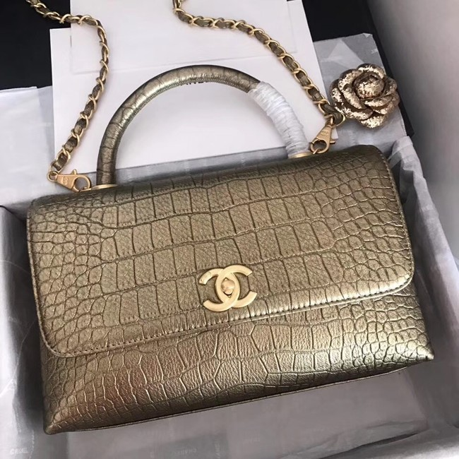 Chanel original Calfskin flap bag top handle A92292 bronze &gold-Tone Metal