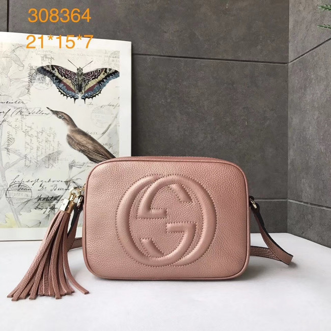 Gucci Soho Calfskin Leather Disco Bag 308364 pink