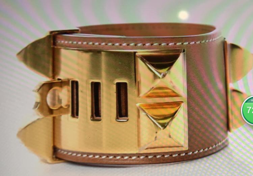 Hermes Brown Leather Gold Bangle 1175