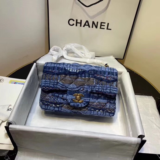 CHANEL Tweed Calfskin -Tone & Gold-Tone Metal AS1116 electric blue