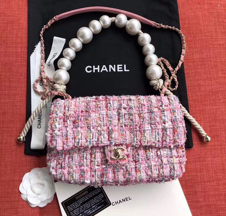 Chanel Original Pearl Shoulder Strap Bag A1112 Pink