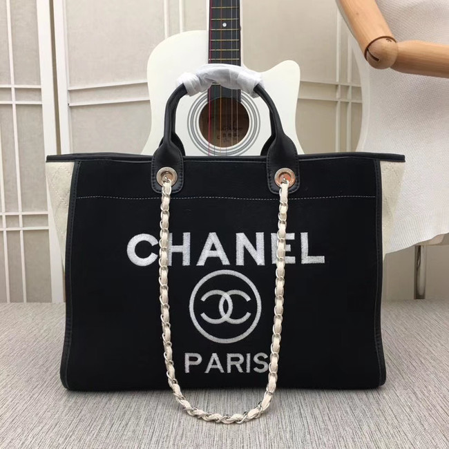 Chanel Canvas Tote Shopping Bag 9098 black