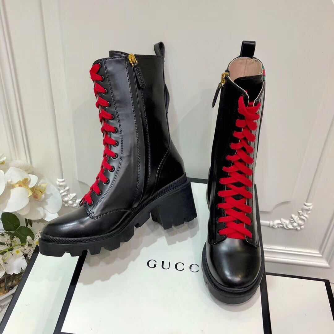 Gucci Leather Boots Shoes GG9655 Black