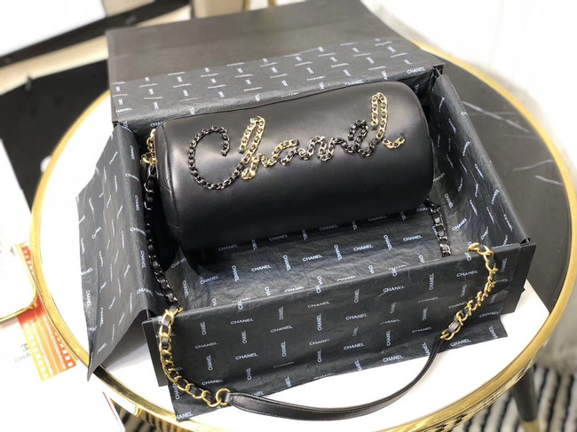 Chanel Original Soft Leather Chain Bag & Gold-Tone Metal AS1531 black