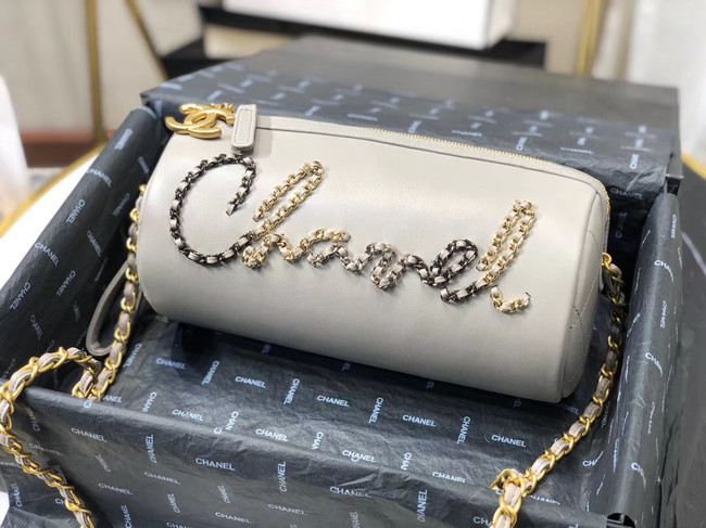 Chanel Original Soft Leather Chain Bag & Gold-Tone Metal AS1531 grey