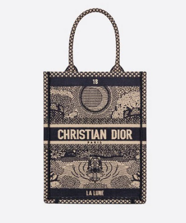 MOON VERTICAL DIOR BOOK TOTE TAROT EMBROIDERED CANVAS BAG M1272Z-3