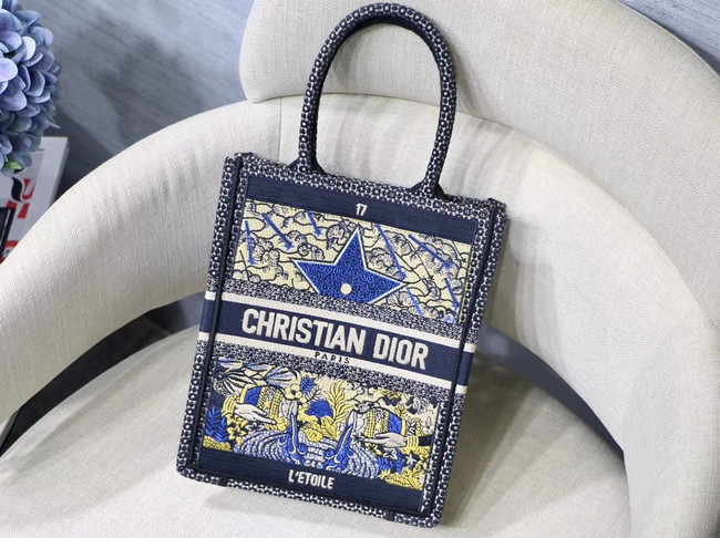 SUN VERTICAL DIOR BOOK TOTE TAROT EMBROIDERED CANVAS BAG M1272Z-2