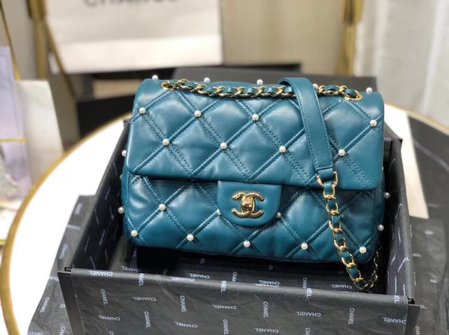 Chanel flap bag AS1202 blue