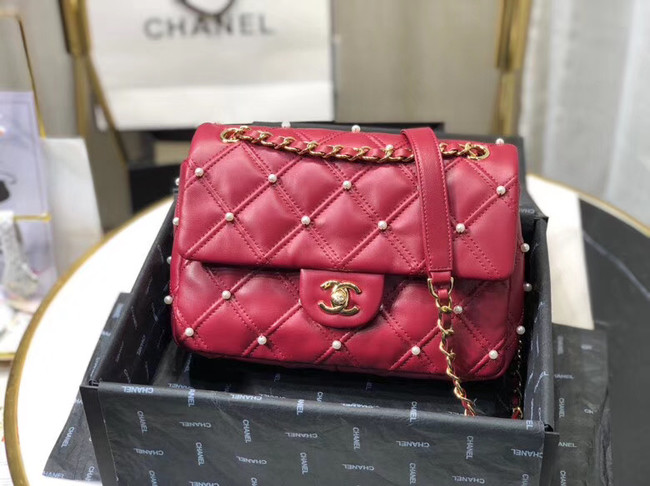 Chanel flap bag AS1202 red