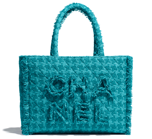 CHANEL zipped shopping bag AS0976 Turquoise