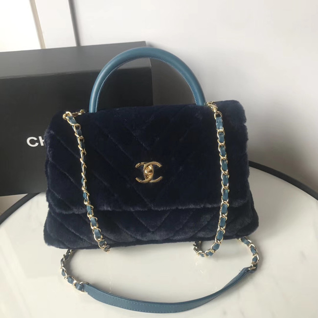 Chanel flap bag with top handle A92991 Royal Blue