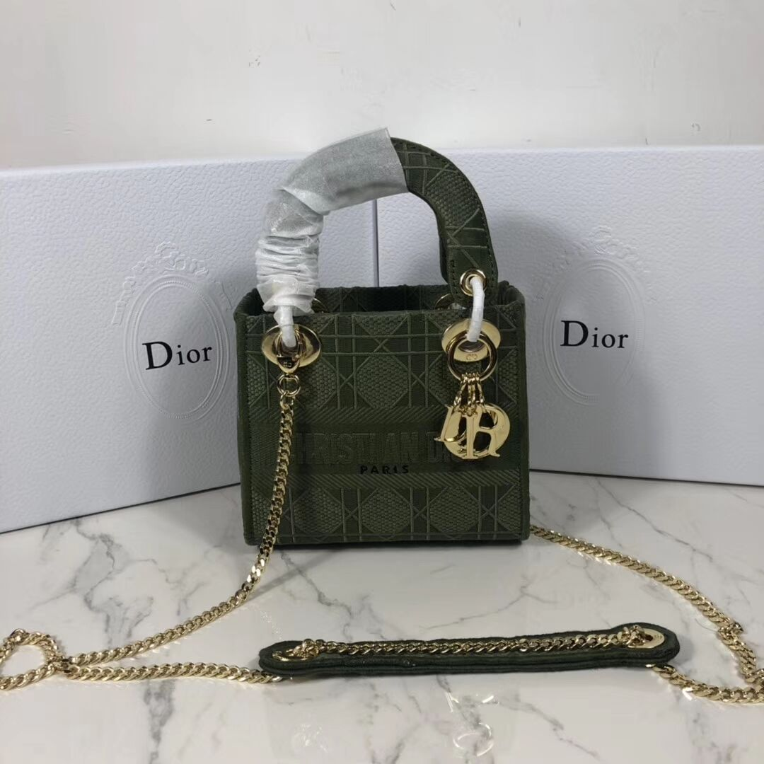 MINI LADY DIOR TOTE BAG IN EMBROIDERED CANVAS C4531 Blackish green