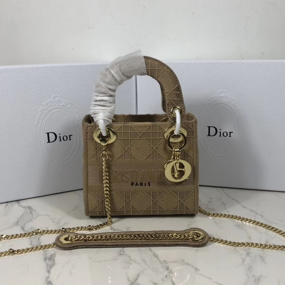 MINI LADY DIOR TOTE BAG IN EMBROIDERED CANVAS C4531 Nude