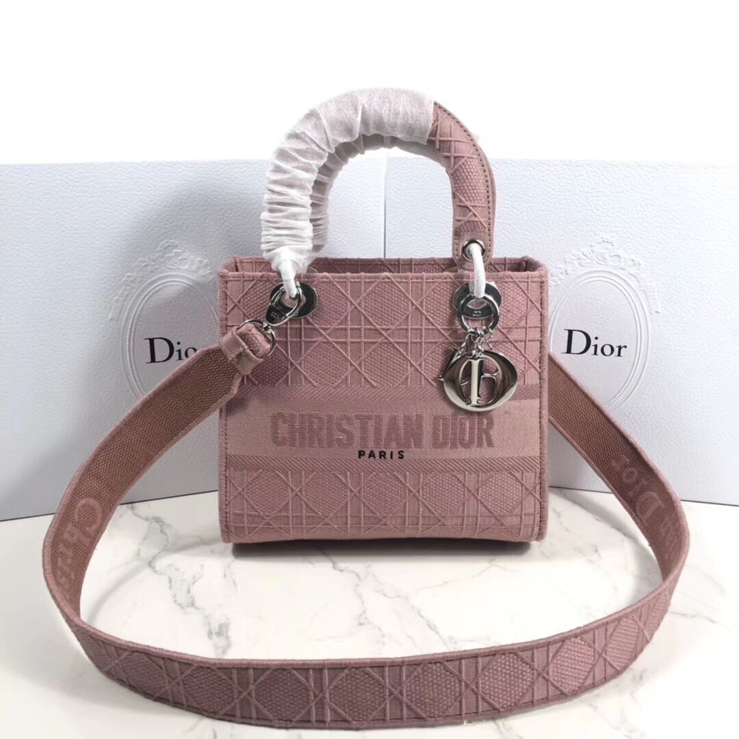LADY DIOR TOTE BAG IN EMBROIDERED CANVAS C4532 pink
