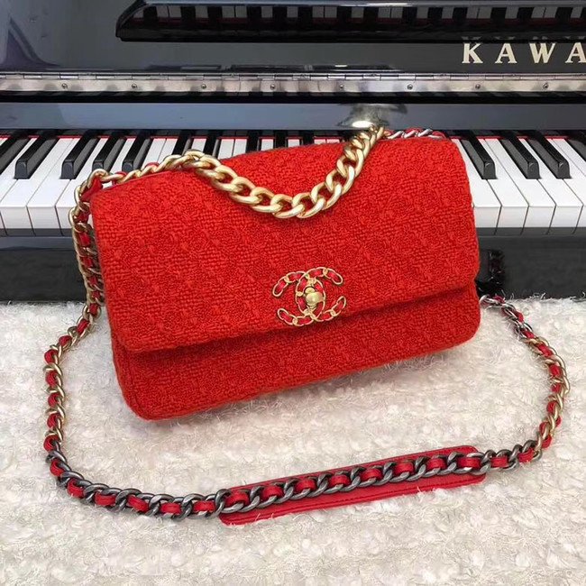 CHANEL 19 Flap Bag AS1160 red