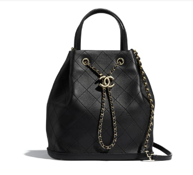 CHANEL Calfskin drawstring bag & Gold-Tone Metal AS1099 black