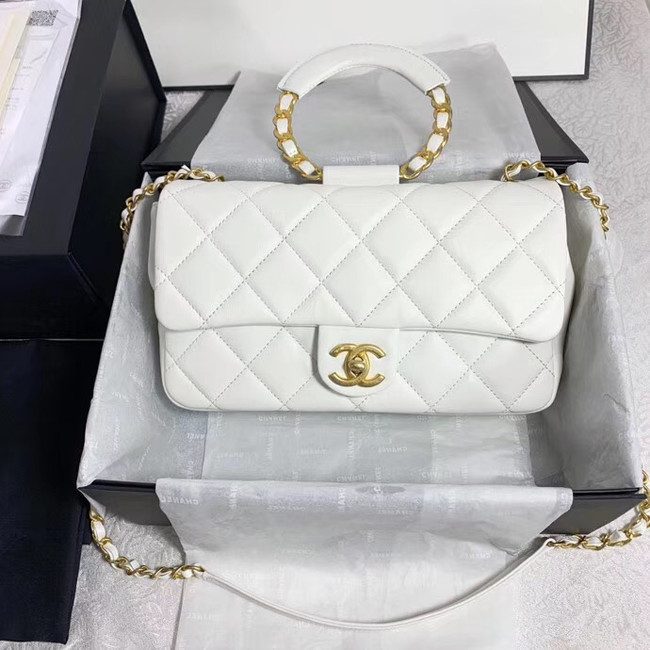 Chanel flap bag Lambskin & Gold Metal AS1358 white