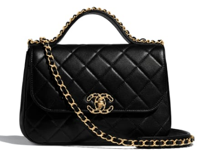 Chanel flap bag leather & Gold Metal AS0970 black