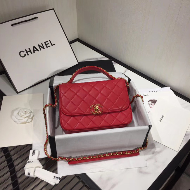 Chanel flap bag leather & Gold Metal AS0970 red