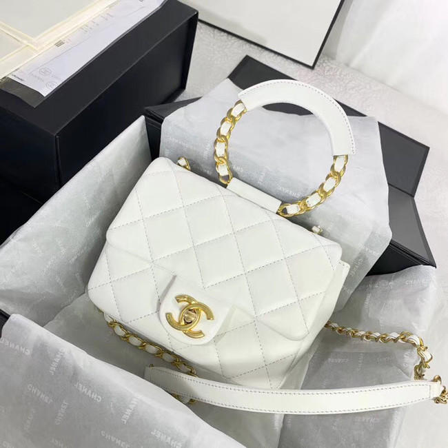 Chanel small flap bag Lambskin & Gold Metal AS1357 white
