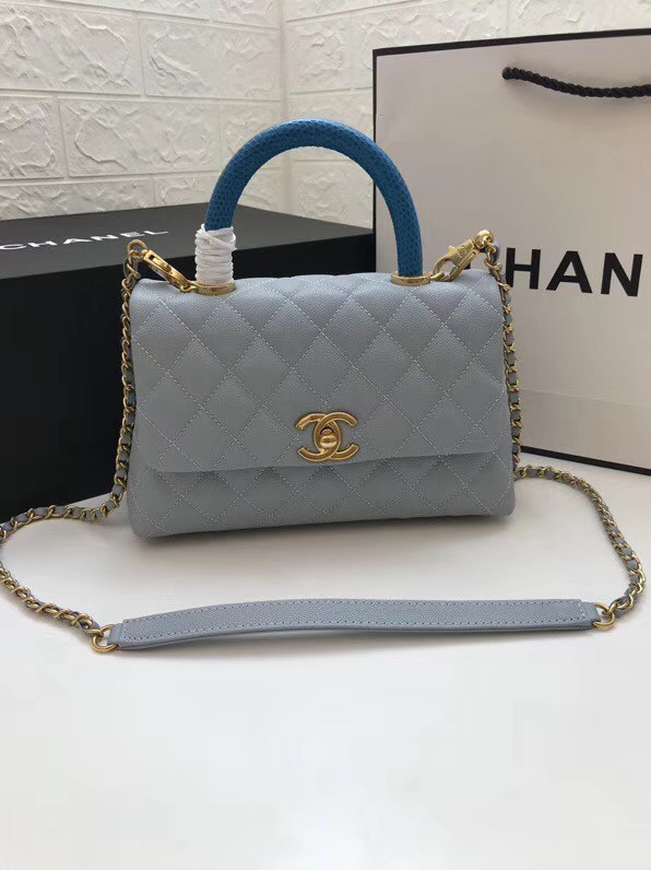 Chanel Small Flap Bag with Top Handle A92990 light blue
