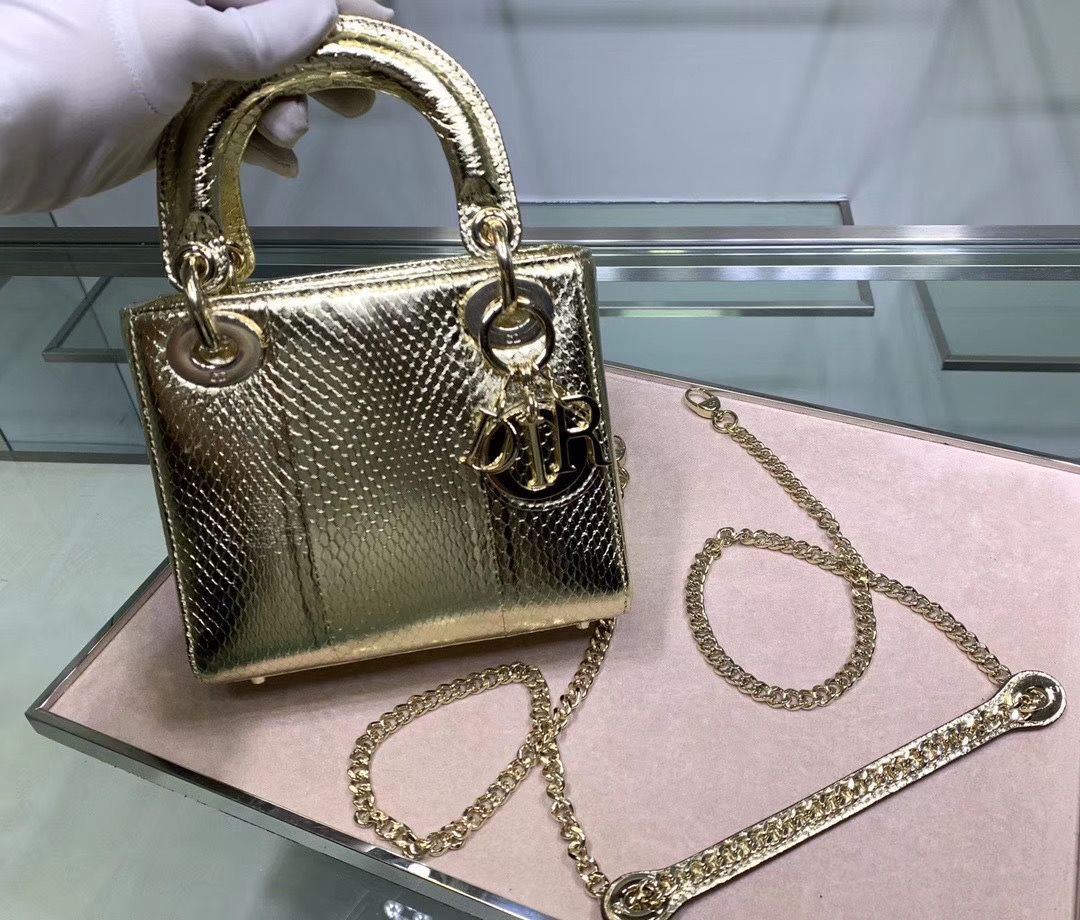 MINI LADY DIOR TOTE BAG ORIGINAL PYTHON LEATHER D2358 Gold