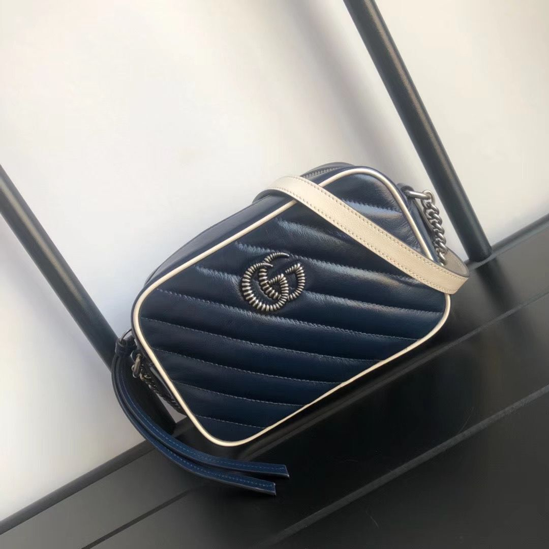 Gucci GG Marmont Matelasse mini Bag 448065 Navy