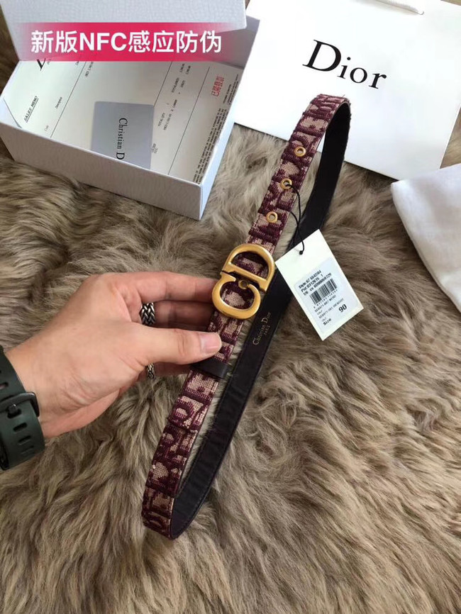 Dior Leather Belt Wide with 20mm 5361 Burgundy