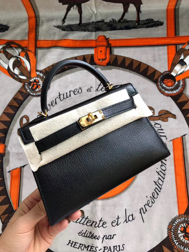 Hermes original mini Kelly chevre mysore K19CM black&Gold Metal