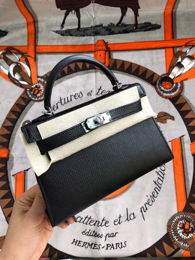 Hermes original mini Kelly chevre mysore K19CM black&silver Metal