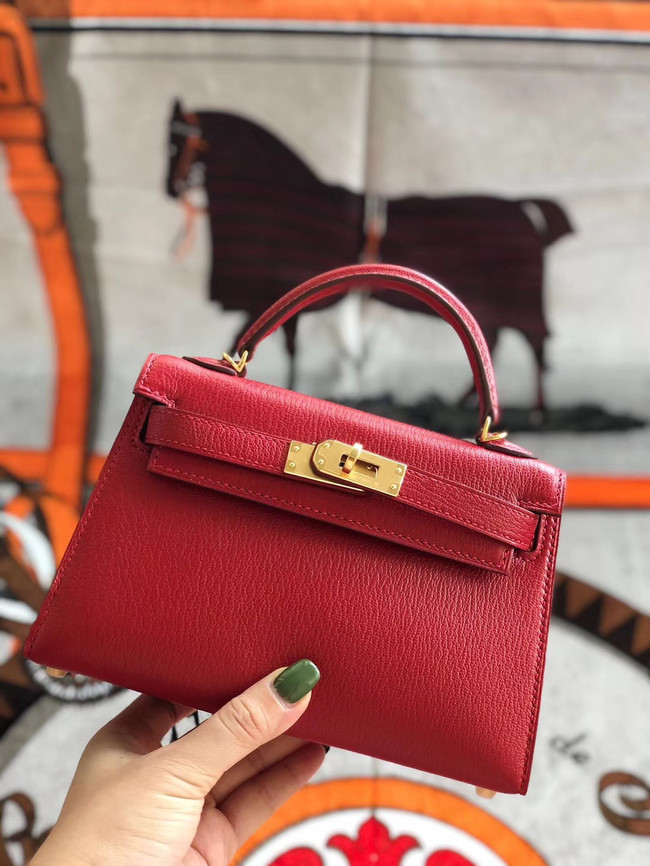 Hermes original mini Kelly chevre mysore K19CM red&Gold Metal