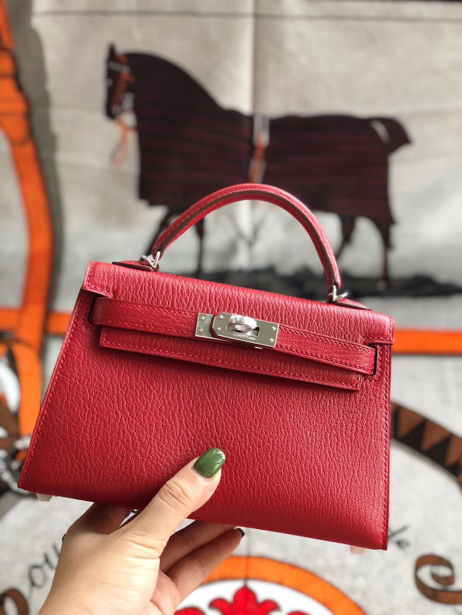 Hermes original mini Kelly chevre mysore K19CM red&silver Metal
