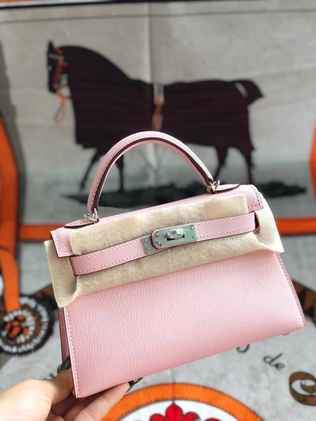 Hermes original mini Kelly chevre mysore K19CM pink&silver Metal