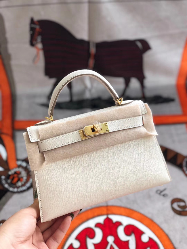 Hermes original mini Kelly chevre mysore K19CM white&Gold Metal