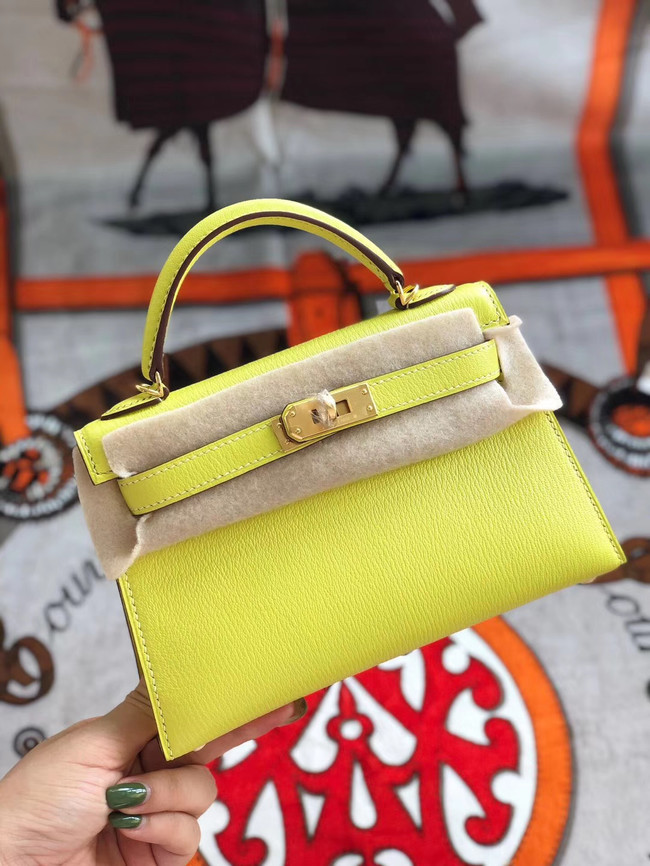 Hermes original mini Kelly chevre mysore K19CM yellow&Gold Metal