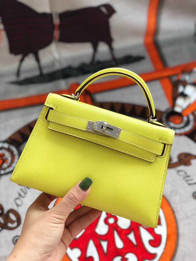 Hermes original mini Kelly chevre mysore K19CM yellow&silver Metal