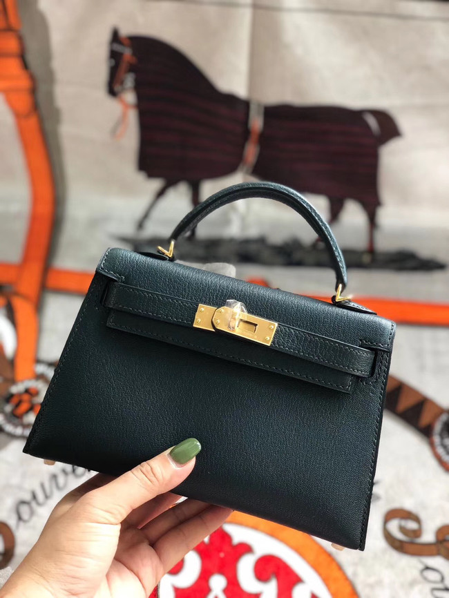 Hermes original mini Kelly chevre mysore K19CM Blackish green&Gold Metal