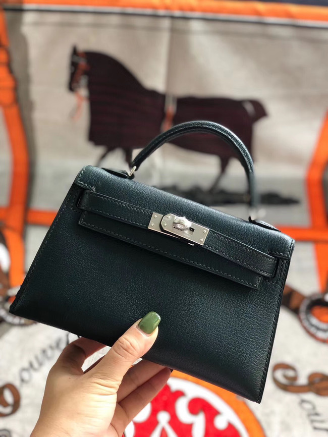 Hermes original mini Kelly chevre mysore K19CM Blackish green&silver Metal