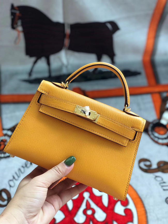 Hermes original mini Kelly chevre mysore K19CM Mango yellow&Gold Metal