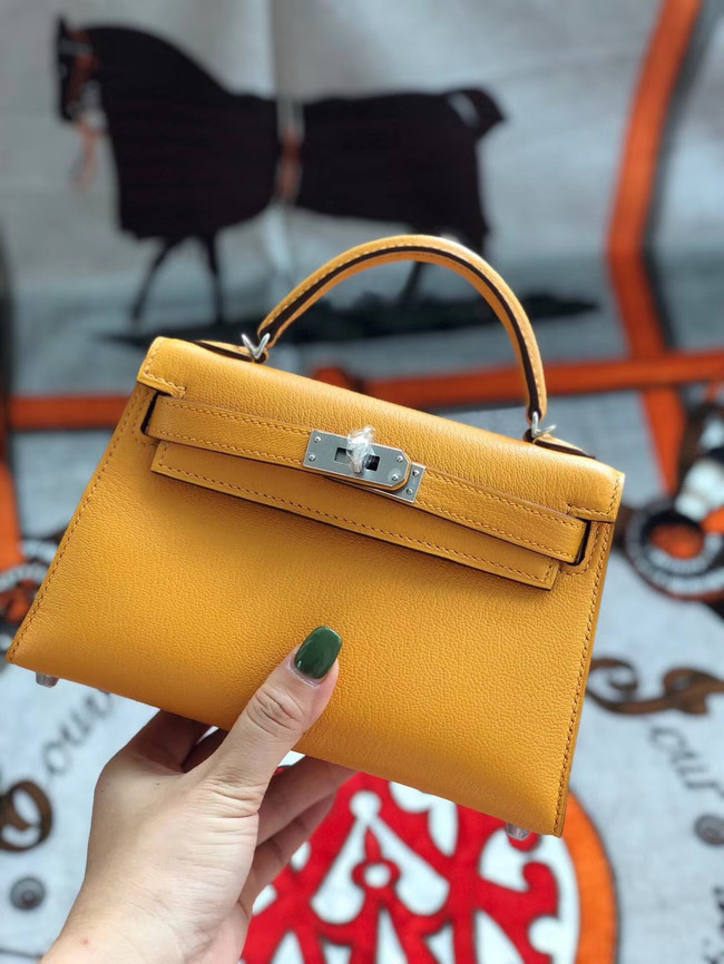 Hermes original mini Kelly chevre mysore K19CM Mango yellow&silver Metal