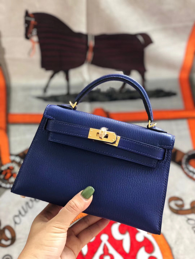 Hermes original mini Kelly chevre mysore K19CM blue&Gold Metal