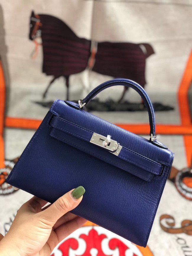 Hermes original mini Kelly chevre mysore K19CM blue&silver Metal
