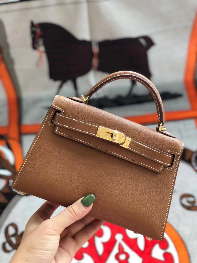 Hermes original mini Kelly chevre mysore K19CM brown&Gold Metal