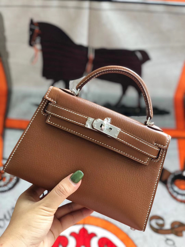 Hermes original mini Kelly chevre mysore K19CM brown&silver Metal
