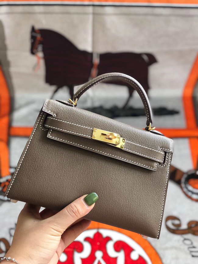 Hermes original mini Kelly chevre mysore K19CM grey&Gold Metal