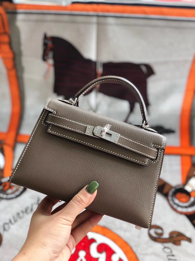 Hermes original mini Kelly chevre mysore K19CM grey&silver Metal