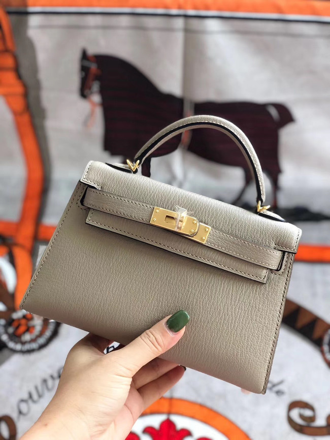 Hermes original mini Kelly chevre mysore K19CM light grey&Gold Metal