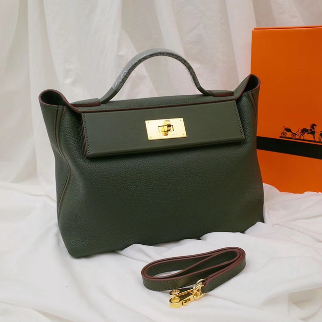 Hermes Kelly togo Leather Tote Bag H2424 Blackish green