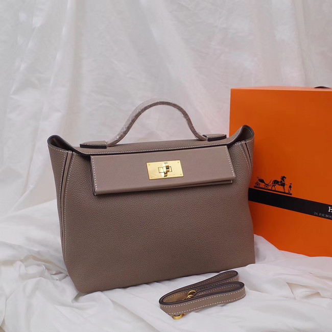 Hermes Kelly togo Leather Tote Bag H2424 grey