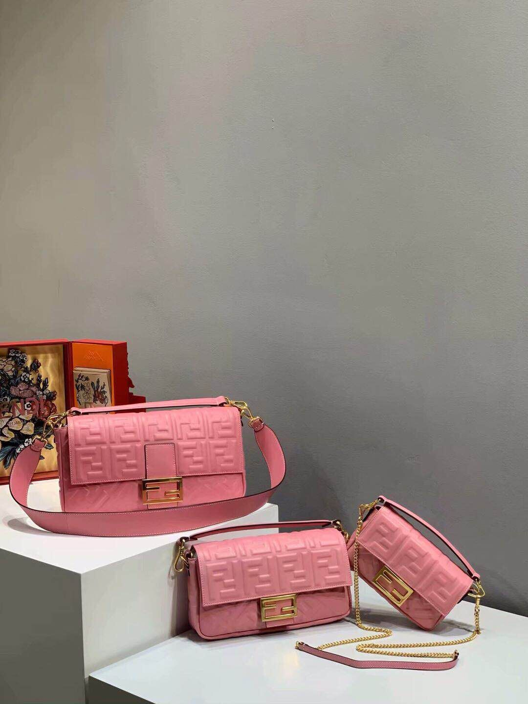 FENDI BAGUETTE large Shoulder Bag 8BR771A Pink